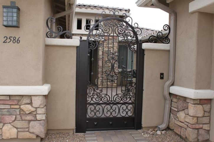 Arched Gate with Model 515 Center and Custom Scroll